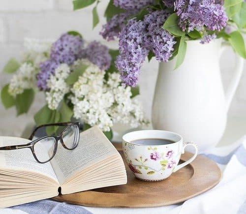 Hydrangeas, Coffee, Book